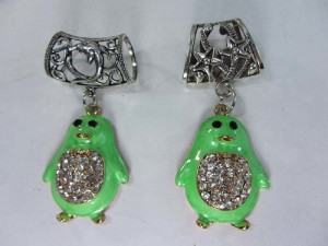 crystal green penguin scarf pendant bail slide set