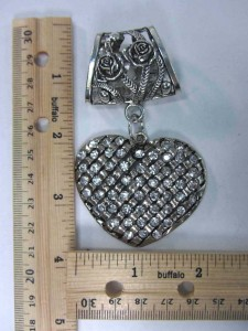 crystal heart scarf pendant bail slide set