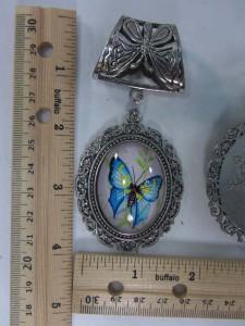 butterfly scarf pendant bail slide set