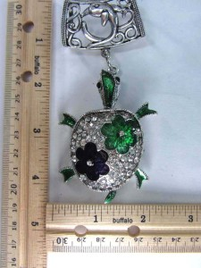 crystal turtle scarf pendant bail slide set
