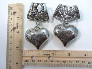 3D love heart scarf pendant bail slide set