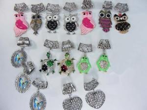 butterfly, heart, penguin, owl, turtle scarf pendant bail slide set