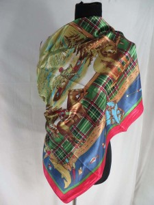 Native American wildlife bear satin square scarves shawl wrap stole