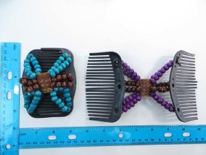 Magic Stretch Double Hair Comb Slide Clips With Color Wooden Bead Decoration