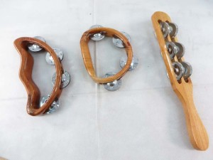 set of 3 wooden tambourine percussion music instrument handcrafted in Bali Indonesia