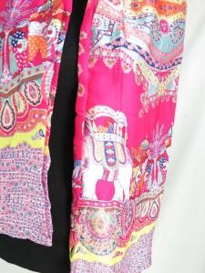 Paisley Indian elephant boho retro print two sided long narrow fashion scarf.