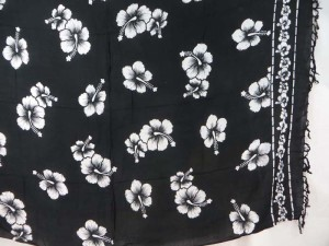 black and white hibiscus flower sarong