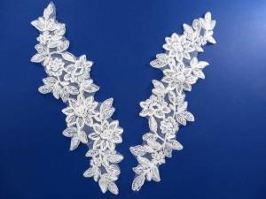 2 pieces venise bridal sew on lace trim appliques