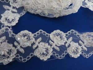 white 2.5 inches wide sequins faux pearl venise bridal netting lace trim