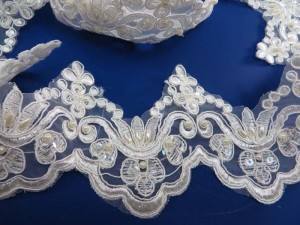 white 3.5 inches wide sequins faux pearl venise bridal netting lace trim