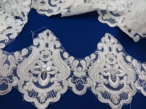 white 5 inches wide sequins faux pearl venise bridal netting lace trim