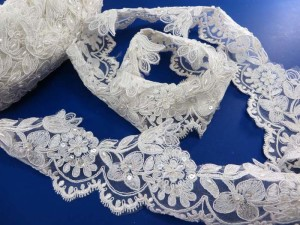white 4 inches wide sequins faux pearl venise bridal netting lace trim