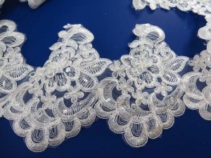 white 6 inches wide sequins faux pearl venise bridal netting lace trim