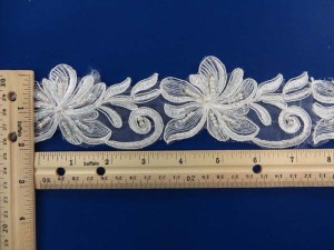white 2 inches wide sequins faux pearl venise bridal netting lace trim