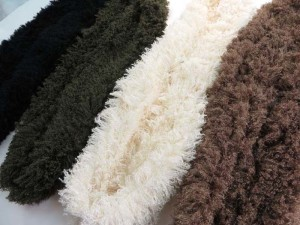 Faux fur eyelash furry fluffy plush winter infinity scarf / circle loop long wrap neckwarmer / endless cowl neck circular shawl / eternity double loop scarf