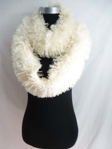 Faux fur eyelash furry fluffy plush winter infinity scarf / circle loop long wrap neckwarmer / endless cowl neck circular shawl / eternity double loop scarf