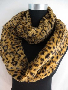 Faux fur animal print furry fluffy plush winter infinity scarf / circle loop long wrap neckwarmer / endless cowl neck circular shawl / eternity double loop scarf