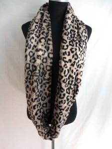 Faux fur animal print furry fluffy plush winter infinity scarf / circle loop long wrap neckwarmer / endless cowl neck circular shawl / eternity double loop scarf