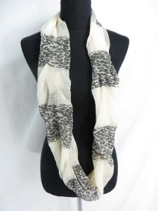 animal print and plain color blocks infinity scarf / circle loop long wrap / endless shawl / cowl neck circular scarf / eternity scarf / double loop scarf