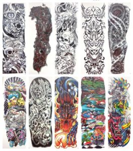"totem full arm fake tattoo 18"" large Our warehouse staffs will randomly choose assorted designs shown on the pictures"