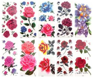 flower rose butterfly temporary tattoo Our warehouse staffs will randomly choose assorted designs shown on the pictures