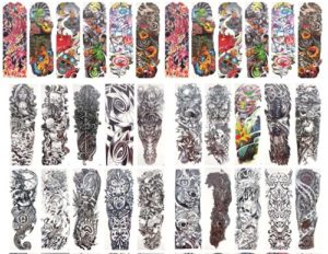 "skull totem fish rose full arm fake tattoo 18"" large Our warehouse staffs will randomly choose assorted designs shown on the pictures."