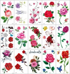 rose flower temporary tattoo Great collection of skin decor fake tattoos. Our warehouse staffs will randomly choose assorted designs shown on the pictures.