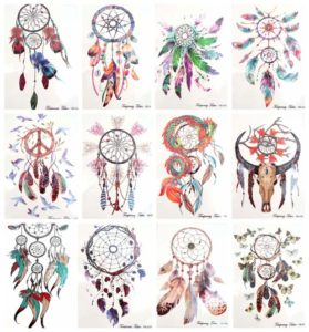 "dreamcatcher large 8.25"" temporary arm tattoo Our warehouse staffs will randomly choose assorted designs shown on the pictures Cool and sexy designs such as dragon feather bird cowhead dreamcatcher."