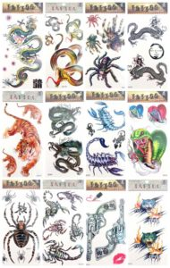gun snake guys girls Halloween temporary tattoo Our warehouse staffs will randomly choose assorted designs shown on the pictures Cool and sexy designs such as hand gun, snake, spider, tiger, scorpio, dragon and more.