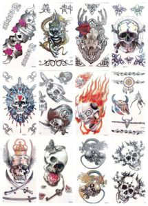 skull dragon women men Halloween temporary tattoo Our warehouse staffs will randomly choose assorted designs shown on the pictures Cool and sexy designs such as skull, cow bone head, dragon and more.