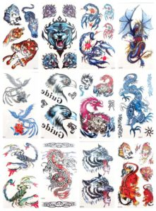 tiger wolf dragon scorpio temporary tattoo for guys Our warehouse staffs will randomly choose assorted designs shown on the pictures Cool and sexy designs such as ying yang, snake, spider, tiger, scorpio, dragon and more.