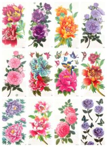 big rose flower peony tattoo sticker Our warehouse staffs will randomly choose assorted designs shown on the pictures