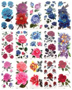 large flower rose butterfly temporary tattoo Our warehouse staffs will randomly choose assorted designs shown on the pictures