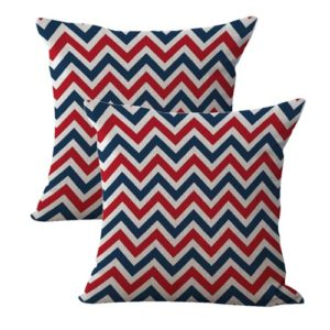 set of 2 American patriotic chevron cushion cover