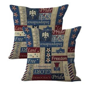 set of 2 American patriotic freedom flory stars cushion cover