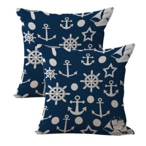 set of 2 American patriotic marine anchor helm sailing cushion cover