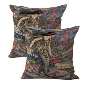 set of 2 vintage art mermaid cushion cover