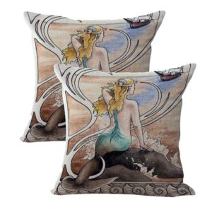 set of 2 vintage art mermaid cushion cover