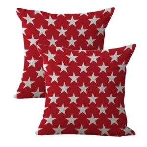 set of 2 American patriotic red stars cushion cover