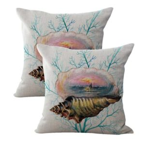 set of 2 nautical shells reef cushion cover