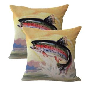 vintage fly fishing Trout cushion cover