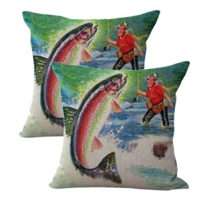 set of 2 vintage fly fishing cushion cover