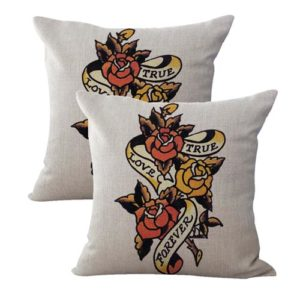set of 2 Sailor Jerry tattoo true love forever cushion cover