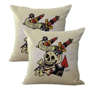 set of 2 Sailor Jerry tattoo anchor skull danger cushion cover