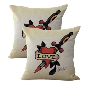 set of 2 Sailor Jerry tattoo love heart danger cushion cover