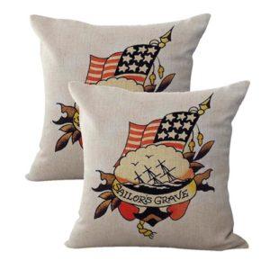 set of 2 Sailor Jerry tattoo sailors grave patriotic cushion cover