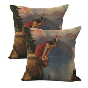 set of 2 R.Atkinson Fox Reflection INDIAN MAIDEN cushion cover