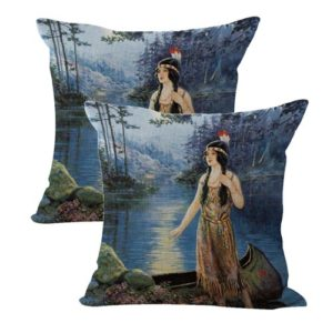 set of 2 Frank Robert Harper Indian Maiden cushion cover