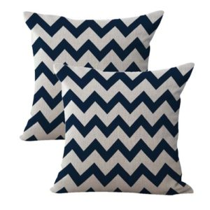 set of 2 American patriotic chevron navy cushion cover