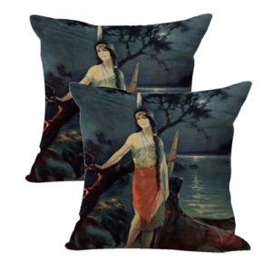 set of 2 Charles Relyea Indian Maiden cushion cover